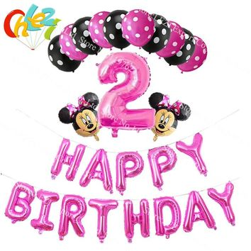 1set Mickey Minnie Mouse Number foil balloons Happy birthday letters party decorations supplies latex helium globos baby shower