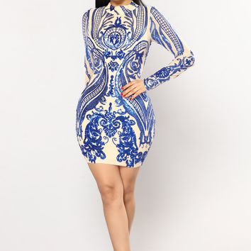 You Need Me Sequin Dress - Nude/Royal
