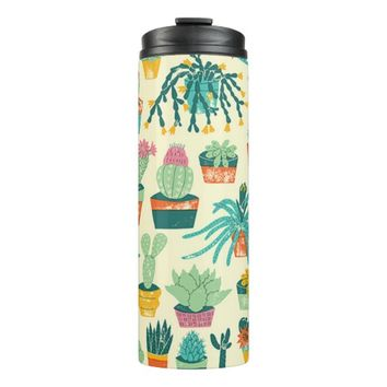 Colorful Cactus Flower Pattern Thermal Tumbler