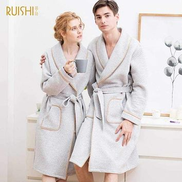 J&Q mall robe warm air cotton sandwich couple pajamas long sleeve drop shipping men and women bathrobe pure cotton nightgown