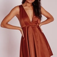 Missguided - Silky Plunge Skater Dress Rust