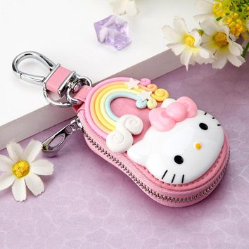 Leather Waist Hanging Car Key Wallets Key Chain Holder Hello Kitty Design Keychain Covers Zipper Key Chains Bag Pouch Purse Gift