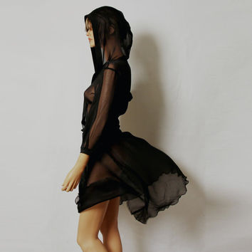 Black sheer silk hooded dress by MIRIMIRIFASHION on Etsy