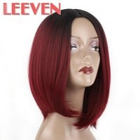 Leeven Synthetic  Wigs 10 Inch Short Bob Wig For Black Women Burgundy Ombre Blond cosplay wig High Temperature Fiber
