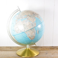 Vintage World Globe // Rand McNally 12""