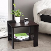 LANGRIA Modern Minimalist Square Coffee Tea Side Sofa End Table Night Stand with Bottom Shelf Black Walnut Coffee Tea Table