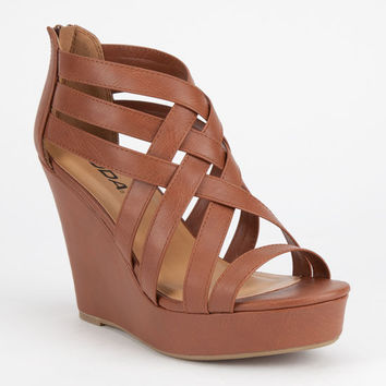 Soda Jorgina Womens Wedges Tan  In Sizes