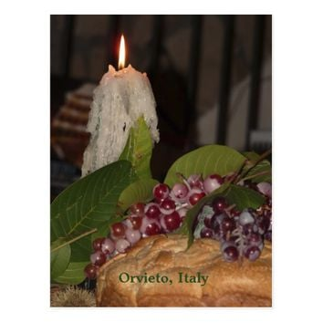 Candle and Grapes Orvieto Italy Postcard