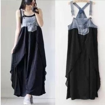 Maternity long dress summer denim chiffon patchwork casual full dresses plus size clothes for pregnant women vest suspender@LJK (Color: Black)