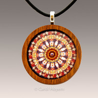 Rock Mandala Pendant Set in Wood