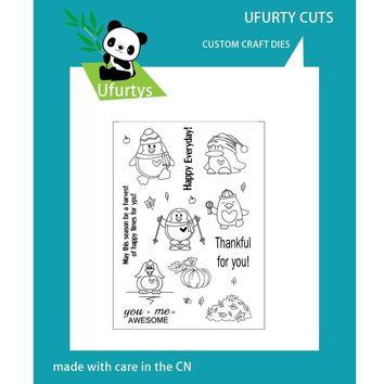 Ufurty Penguin Pumpkin Clear Stamps for Scrapbooking DIY Photo Cards Rubber Stamp Transparent Stamps Background Halloween Stamp