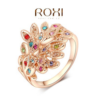 ROXI Exquisite rose golden colorful peacock Rings ,platinum with AAA zircon,fashion rings for elegant women party = 1958345796