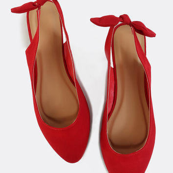 Pointed Toe Slingback Flats RED | MakeMeChic.COM