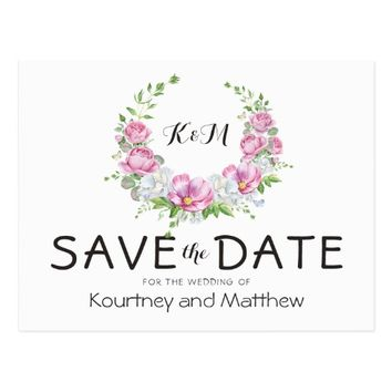 Elegant Pink Floral Wreath Save the Date Postcard