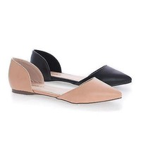 Dolley51 Natural Pu by Breckelle's, Ballet D'Orsay Slip On Dress Pointy Toe Flats