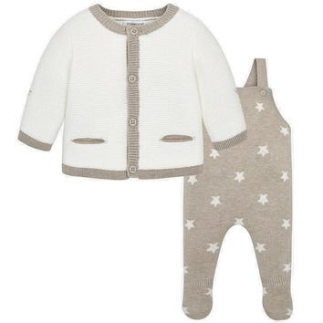 Mayoral Baby Boys' Beige Knit Overall Sweater Set