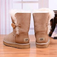UGG Women Fashion Fur Winter Leather Half Boots Shoes