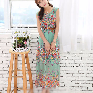 Light Blue Floral Sleeveless Shirtwaist Belted Bohemian Maxi Dress