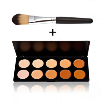 10-Color Concealer Palette Set + Foundation Brush Womens Gift + Freee Shipping
