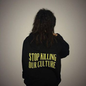 Stop Killing Our Culture Hoodies Yellow Printed Crewneck Tumblr Casual Top fleece Women Fashion Inspired Aesthetic Sweatshirt