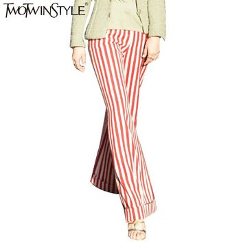 TWOTWINSTYLE 2017 Spring Women Striped Wide Leg Pants Flare Bell Bottom Cuffs Trousers Elastic Waist Female Clothes Large Sizes