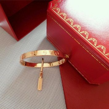 Authentic Cartier Love Bangle Bracelet in 18k Rose Gold USAsize 19