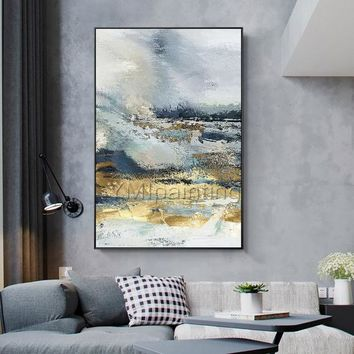 Modern Abstract acrylic Gold and blue paintings on canvas art original texture painting Large wall pictures cuadros abstractos hand-painted