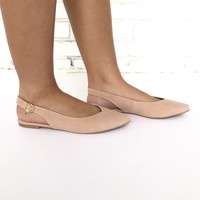 Ballerina Sling Back Flats In Blush