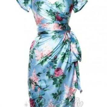 PinUp Couture Ava Floral Dress in Blue and Mauve