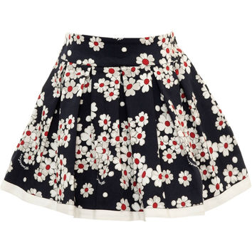 Monnalisa - Girl Navy Skirt With Floral Print