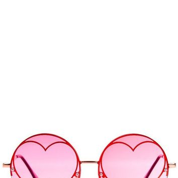 Pink Heart Sunglasses by Skinny Dip London
