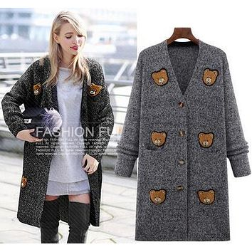 cashmere cardigan female medium-long wool small bear sweater loose long-sleeve plus size sweater 4XL 5XL knitted jacket