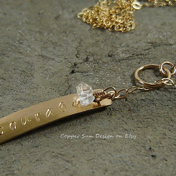 Vertical Gold Bar Lariat Necklace with Herkimer Diamond, Hand Stamped Gold Bar, Courage Stamped Jewelry, Feminine and Delicate Pendant