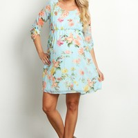 Light-Blue-Floral-Chiffon-3/4-Sleeve-Maternity-Dress