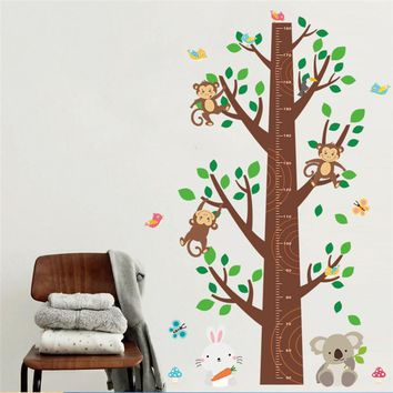 Forest Animals Monkey Tree Height Measure Wall Stickers For Kids Room Wall Decal Art Children Nursery Room Decor Poster Mural