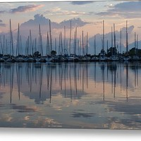 Pink White And Blue Mirror - Boat Reflections And A Grebe Canvas Print