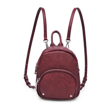 'ODESSA' CROC EMBOSSED MINI BACKPACK - OXBLOOD
