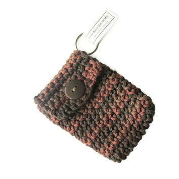 Crocheted Mens Keychain - Brown Ombre - Perfect place to keep your Pills - Item #20151013