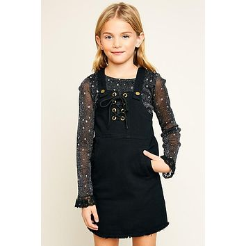 Hayden Black Denim Overall Dress