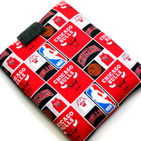 Hand Crafted Tablet Case From Licensed NBA Chicago Bulls  Basketball Fabric / Case for: iPad, iPad Air,  Kindle Fire HD, Samusng Galaxy Tab