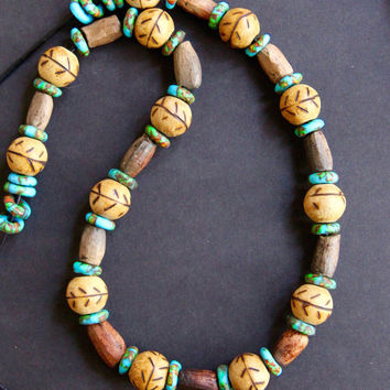 On Sale Sale Old Mali Clay and Carved Wood Bead Necklace Earthy Rustic Clay Beads Wood Beads w Leaf Design Aqua Recycled Glass Discs African