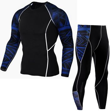mma rashgard long-sleeved hot sweater crossfit fitness suits men's compression clothing tights + pants men's S-XXXXL
