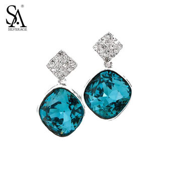 SA SILVERAGE Real 925 Sterling Silver Crystal Drop Earring