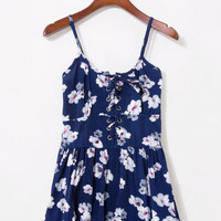 Dark Blue Dloral Lace Up Romper