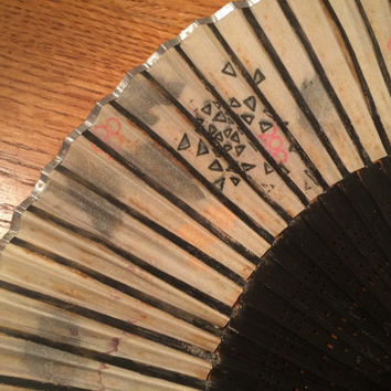 Oriental Rice Paper Handheld Fan Black Wood Cutout Design Wooden Reed Base 8 Inches Long Asian Decor Gorgeous