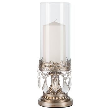 12.75 Inch Crystal-Draped Antique Glass Hurricane Candle Holder (Silver)