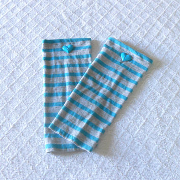 Teal Striped Baby Leg Warmers Girl, Toddler Leg Warmers, Infant Leg Warmers, Girl Baby Leggings, Baby Boot Socks, Slouch Sock, Footless Sock