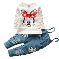 new t shirt straps Hello kitty set baby kids suits 2pcs fashion girls clothing sets minnie girls clothes Minnie tops suit retail