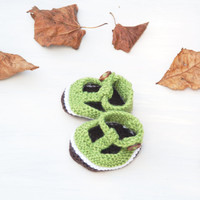 Knitted New Born Baby Booties T Bar Shoes Unisex Boys Girls