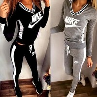 Nike Sweatshirt Top Sweater Pants Sweatpants Set Two-Piece Sportswear